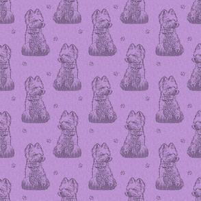 Sitting Westie stamp - purple
