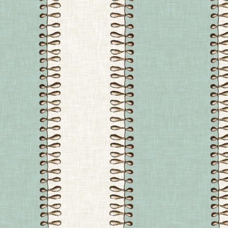 Vintage Jellyfish Stripe in Aquamarine and Linen  fabric by willowlanetextiles on Spoonflower - custom fabric