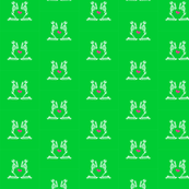 Praying skulls on green background