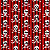 Red and Black Stripe Pirate Fabric