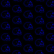 Black Fabric with Blue Skulls