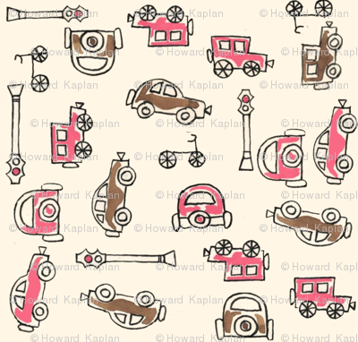 Pink and Taupe Vintage Cars