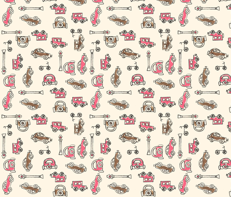 Pink and Taupe Vintage Cars fabric by htsvik on Spoonflower - custom fabric