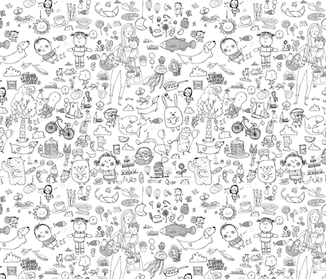 Massive coloring in fabric by laura_the_drawer on Spoonflower - custom fabric