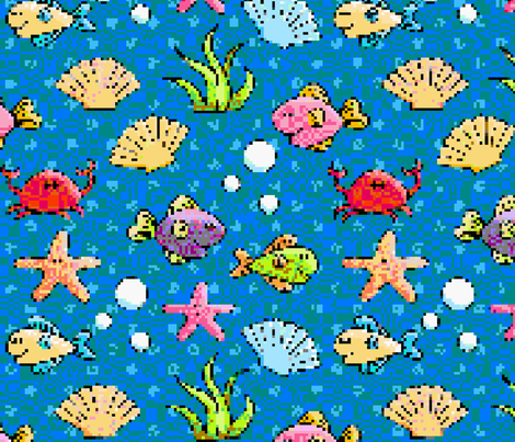 8-Bit Fish fabric by delightfuldesigns on Spoonflower - custom fabric