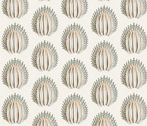 Vintage Sea Disks in Aquamarine  fabric by sparrowsong on Spoonflower - custom fabric