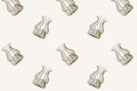 Jellyfish Cascade in Aquamarine on Linen fabric by sparrowsong on Spoonflower - custom fabric