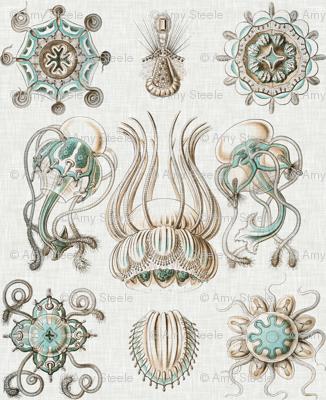 Sea Creatures on Linen