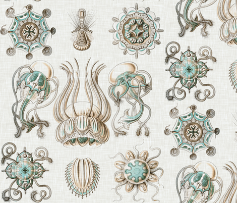 Sea Creatures on Linen fabric by willowlanetextiles on Spoonflower - custom fabric