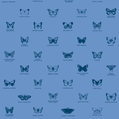 butterfly alphabet - blue twilight fabric by weavingmajor on Spoonflower - custom fabric