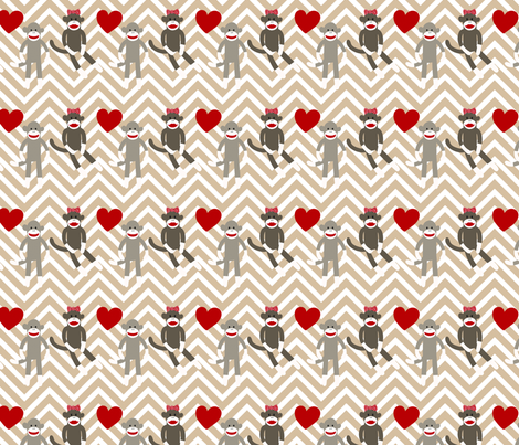 Sock Monkey Love fabric by popstationery&gifts on Spoonflower - custom fabric