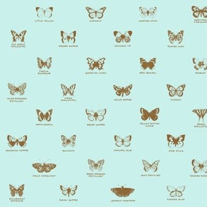 butterfly alphabet - antique blue