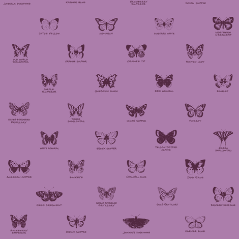 butterfly alphabet - twilight mauve fabric by weavingmajor on Spoonflower - custom fabric