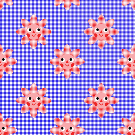 flowers on blue fabric by heidikenney on Spoonflower - custom fabric