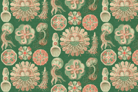 Sea Creatures in Coral fabric by willowlanetextiles on Spoonflower - custom fabric