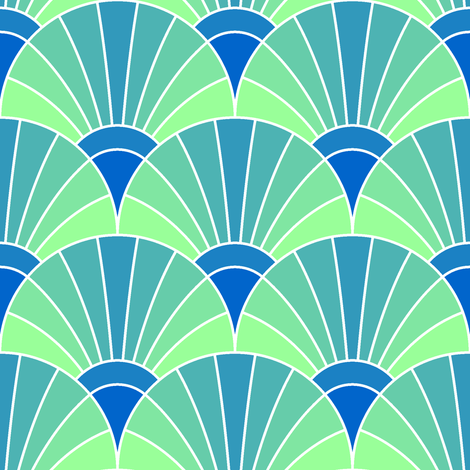 art deco fan scale : icy fabric by sef on Spoonflower - custom fabric