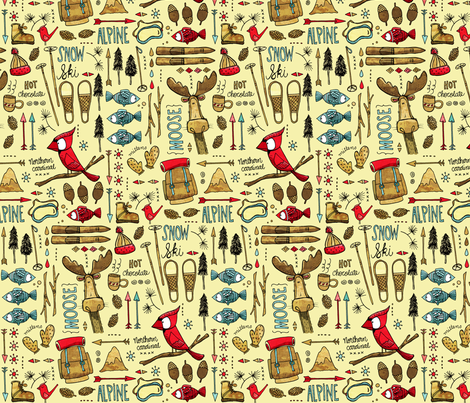 Winter Adventure, lemony fabric by mulberry_tree on Spoonflower - custom fabric