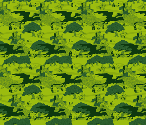 8 bit dragons green fabric by vinpauld on Spoonflower - custom fabric