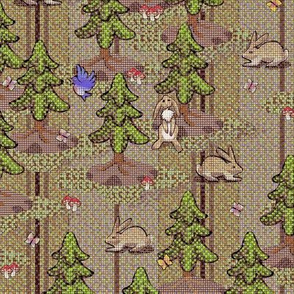 8 bit woodland frolics pinstripe - woodtone