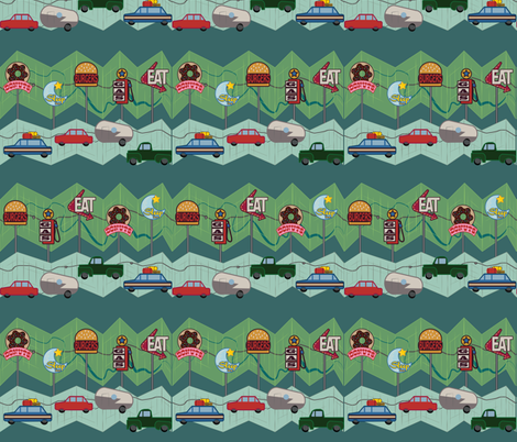 Road Trippin' - Green fabric by girlfighter on Spoonflower - custom fabric