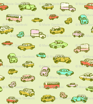 Little Vintage Cars | Green Background | Large Scale