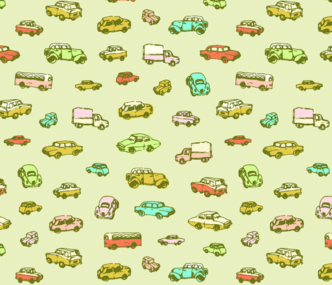 Little Vintage Cars | Green Background | Large Scale fabric by imaginaryanimal on Spoonflower - custom fabric