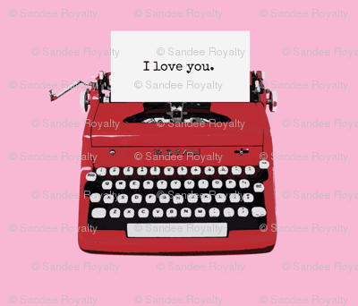 royal typewriter red on pink