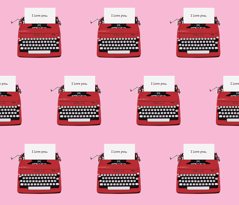 royal typewriter red on pink fabric by sandeeroyalty on Spoonflower - custom fabric