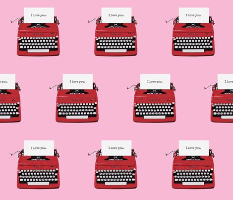 royal typewriter red on pink fabric by sandeeroyalty on Spoonflower - custom fabric