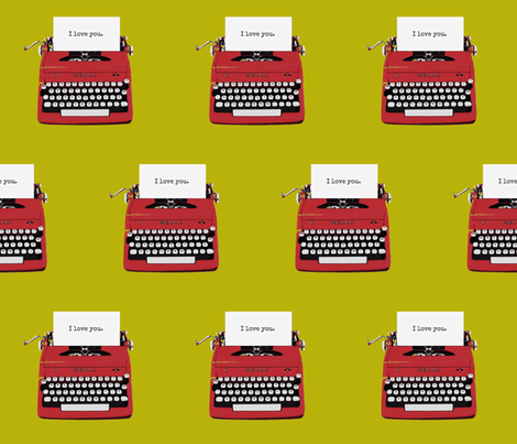 royal typewriter red on pea green background fabric by sandeeroyalty on Spoonflower - custom fabric