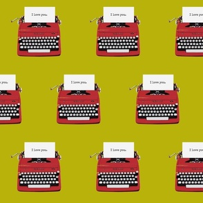 royal typewriter red on pea green background