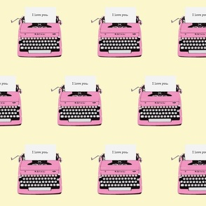 royal typewriter pink on cream background