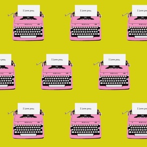 royal typewriter pink  on pea green background