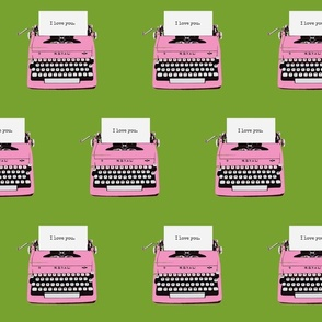 royal typewriter pink green background