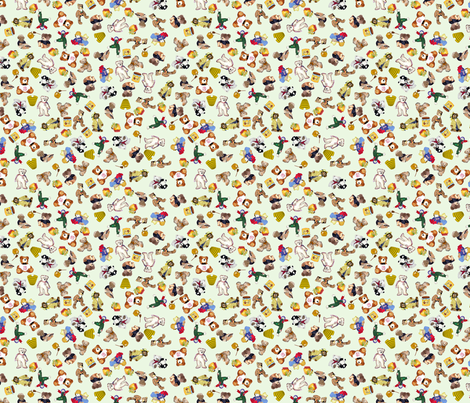 Ditsy Vintage Bears fabric by koalalady on Spoonflower - custom fabric