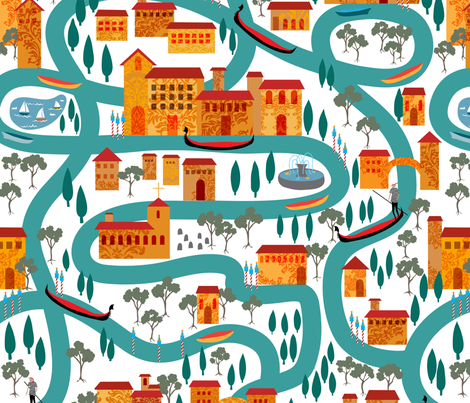 By way of canal!  fabric by vo_aka_virginiao on Spoonflower - custom fabric