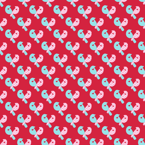 LoveBirdsonRed3600Square_copy fabric by lovelyjubbly on Spoonflower - custom fabric