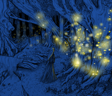 Fireflies in the woods - print  fabric by artytypes on Spoonflower - custom fabric