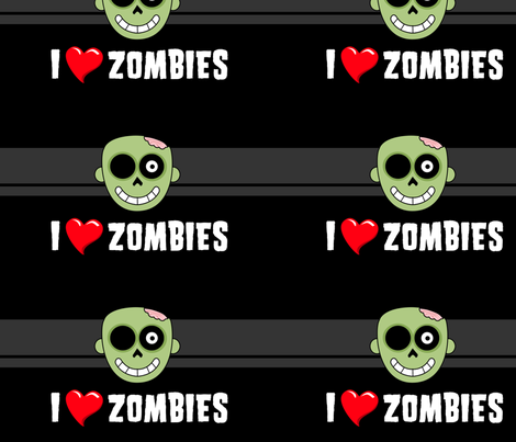 I <3 Zombies fabric by tonileigh_hall on Spoonflower - custom fabric
