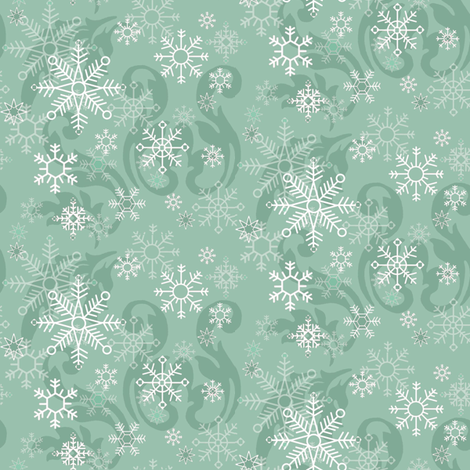 Aqua_Snowflakes fabric by kelly_a on Spoonflower - custom fabric