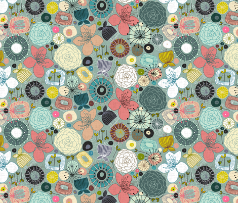 oriental blooms small fabric by scrummy on Spoonflower - custom fabric