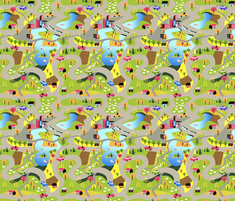 Countryside Highways fabric by vinpauld on Spoonflower - custom fabric