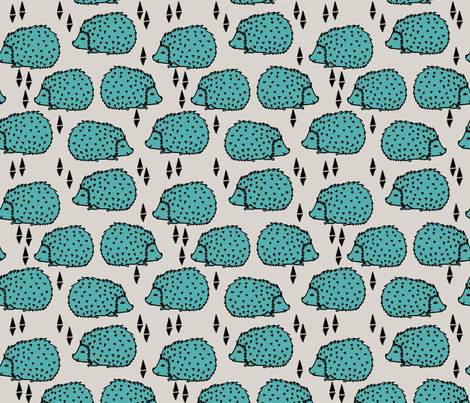 Hedgehogs - Light Grey/Tiffany Blue fabric by andrea_lauren on Spoonflower - custom fabric