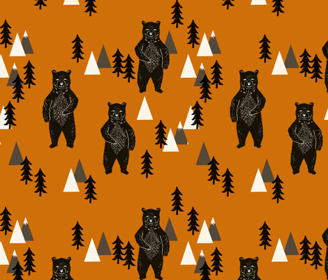 forest bear // kids woodland outdoors camping bear mountains boys room boys nursery baby  fabric by andrea_lauren on Spoonflower - custom fabric