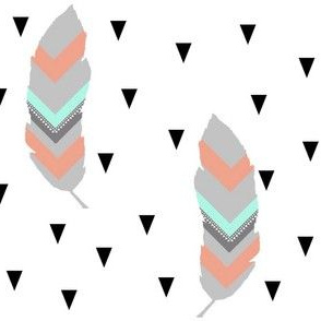 Tribal feather with black triangles