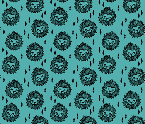 Lion Head - Tiffany Blue/Black fabric by andrea_lauren on Spoonflower - custom fabric