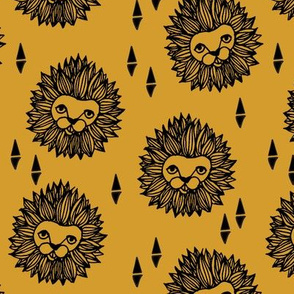 lion // lion head mustard yellow gold boys kids safari zoo