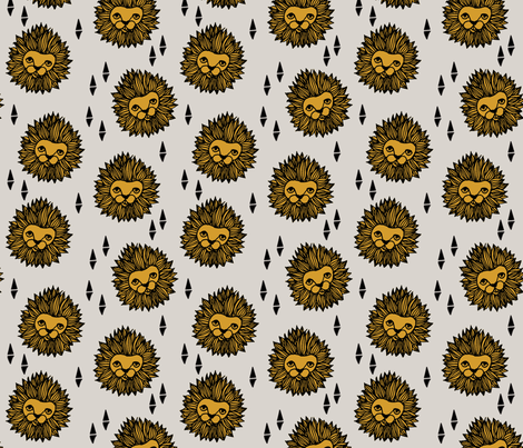 lion // lion head grey and gold mustard boys nursery baby boy kids  fabric by andrea_lauren on Spoonflower - custom fabric