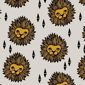 Lion Head - Light Grey/Saffron by Andrea Lauren