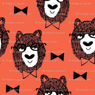 Bowtie Bear - Coral/White/Black
